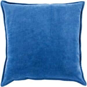 Velizh Blue Solid Polyester 18 in. x 18 in. Throw Pillow