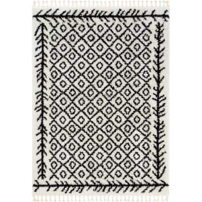 Cabana Agata Moroccan Shag Black 7 ft. 10 in. x 9 ft. 10 in. Soft Area Rug