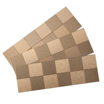 Square Matted 12 in. x 4 in. Brushed Champagne Metal Decorative Tile Backsplash (1 sq. ft.)