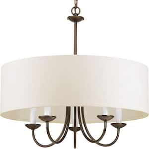 Drum Shade Collection 5-Light Antique Bronze White Textured Linen Shade Farmhouse Chandelier Light