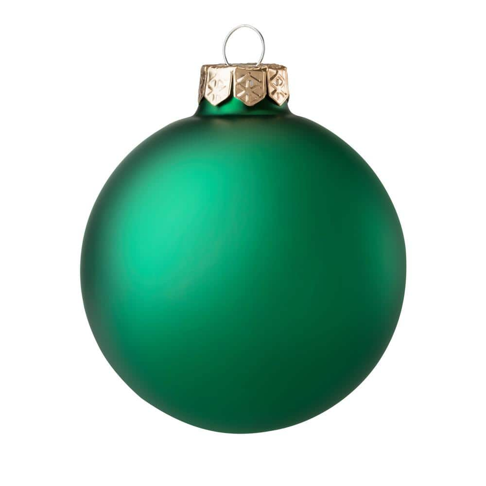 Whitehurst 21.21 in. Green Matte Glass Christmas Ornament 21 Pack 21    The Home Depot