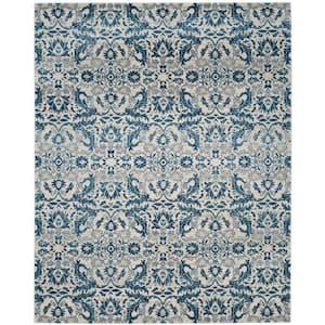 Evoke Ivory/Blue 9 ft. x 12 ft. Floral Area Rug