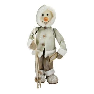 21.5 in. White and Brown Skiing Snowman Christmas Figure Decoration