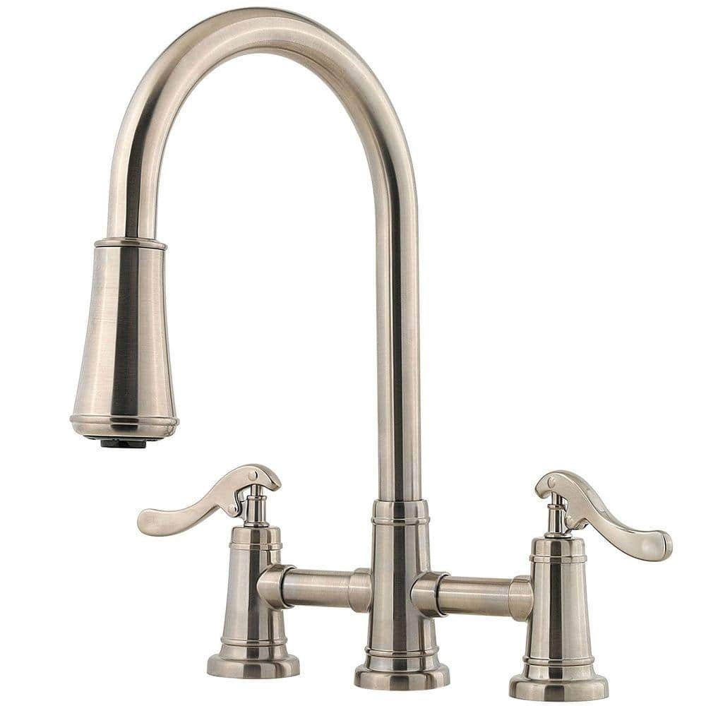 Pfister Ashfield 2 Handle Pull Down Sprayer Kitchen Faucet In Brushed Nickel Lg531 Ypk The Home Depot
