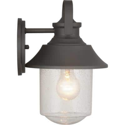Weldon Collection 1-Light Architectural Bronze Clear Seeded Glass Farmhouse Outdoor Medium Wall Lantern Light