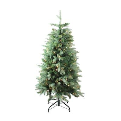 4.7 ft. Pre-Lit Slim Fresh Cut Carolina Frasier Fir Artificial Christmas Tree with Clear Lights