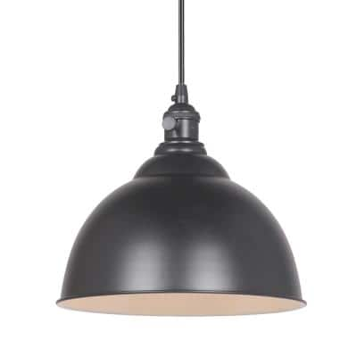 Instant Pendant 1-Light Matte Black Recessed Light Conversion Kit with Dome Shade