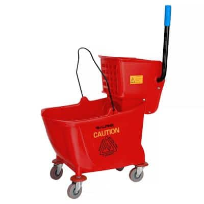 36 Qt. Mop Bucket with Side Press Wringer in Red