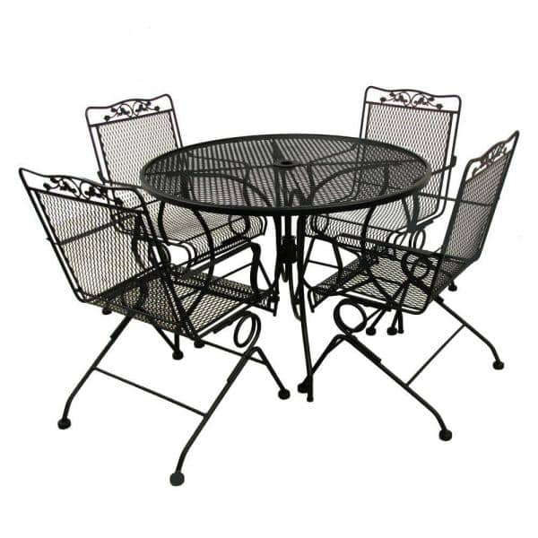 Round Mesh Patio Dining Table, Rod Iron Patio Furniture Home Depot