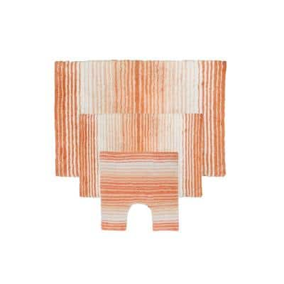 Gradiation Rug Collection Coral 17 in. x 24 in. / 21 in. x 34 in. / 20 in. x 20 in. Bath Rug Set