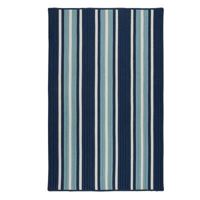 Mesa Stripe Shoreline Blue 10 ft. x 13 ft. Indoor/Outdoor Area Rug