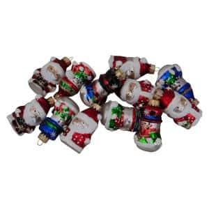 2 in. 12ct Assorted Winter Snowmen and Santa Claus Christmas Figurine Ornament Set