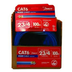 100 ft. Blue 23/4 Solid CU CAT6 CMR (Riser) Data Cable