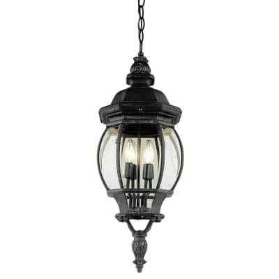 Parsons 4-Light Black Outdoor Pendant Light with Clear Glass