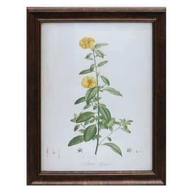 Antiqued Bronze Framed Acrylic Painting Yellow Flower Wall Art 28 in. H x 22 in. W