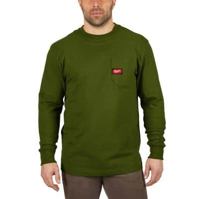 Men's 2X-Large Green Heavy Duty Cotton/Polyester Long-Sleeve Pocket T-Shirt