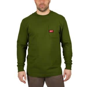 Men's Small Olive Green Heavy-Duty Cotton/Polyester Long-Sleeve Pocket T-Shirt