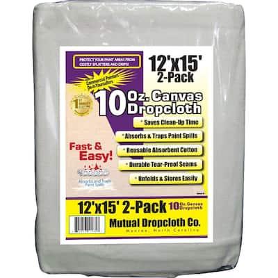 12 ft. x 15 ft. 10 oz. Natural Canvas Drop Cloth (2-Pack)