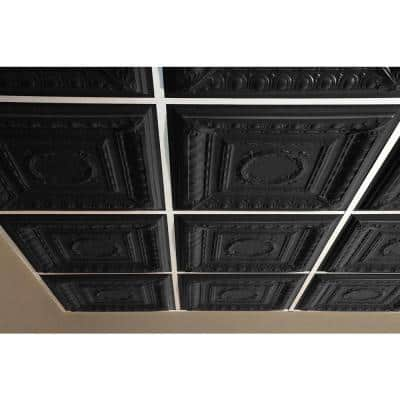 Empire Black 2 ft. x 2 ft. Lay-in or Glue-up Ceiling Panel (Case of 6)