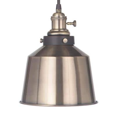 Instant Pendant 1-Light Brushed Brass Recessed Light Conversion Kit with Metal Shade