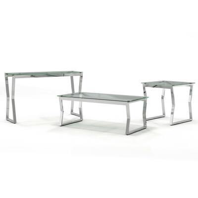 Harvoy 3-Piece Chrome Coffee Table Set