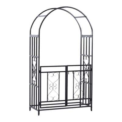 45 in. x 20 in. x 81 in. Steel Metal Decorative Backyard Arch Arbor with Double Swinging Gate and Modern Vine Arch