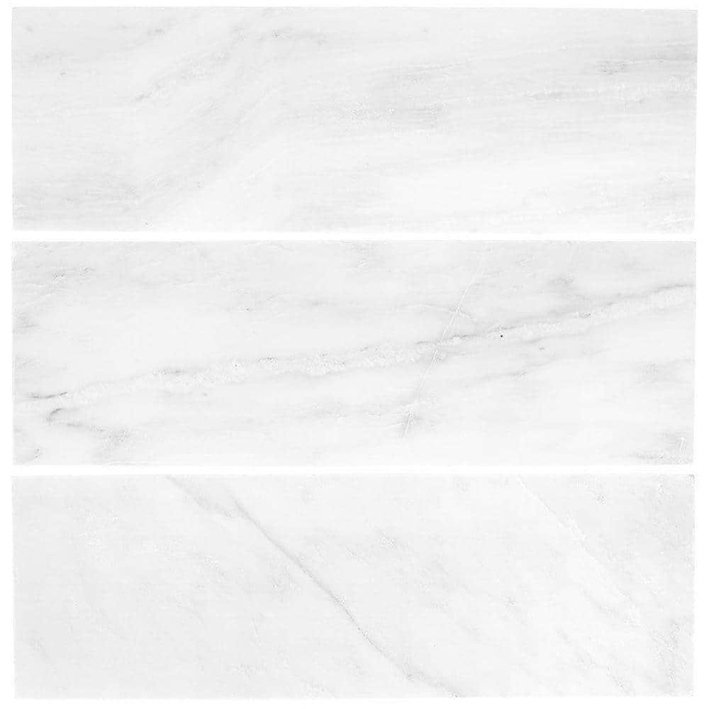 Jeffrey Court Carrara White Grey 4 In X 12 In Honed Marble Wall And Floor Tile 1 Sq Ft Pack 99786 The Home Depot