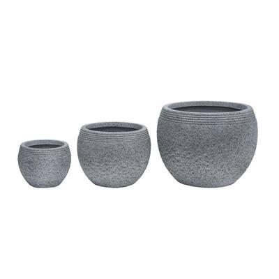 20 in. Clay Modern Zen Fiber Planter (Set of 3)
