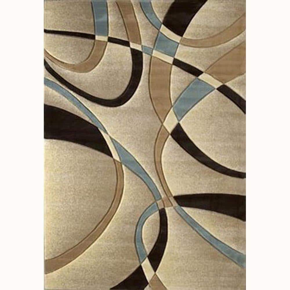 La Chic Beige 8 Ft X 11 Ft Contemporary Area Rug 510 21326 811 The Home Depot