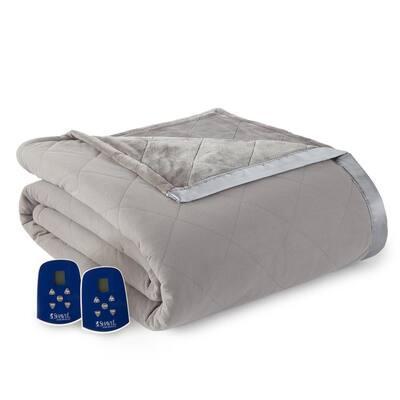 Reverse to Ultra Velvet Queen Smoke Electric Comforter/Blanket