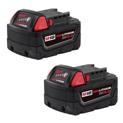 M18 18-Volt Lithium-Ion XC Extended Capacity 5.0 Ah Battery Pack (2-Pack)