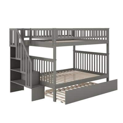 Woodland Staircase Bunk Bed Grey Full over Full with Full Urban Trundle Bed