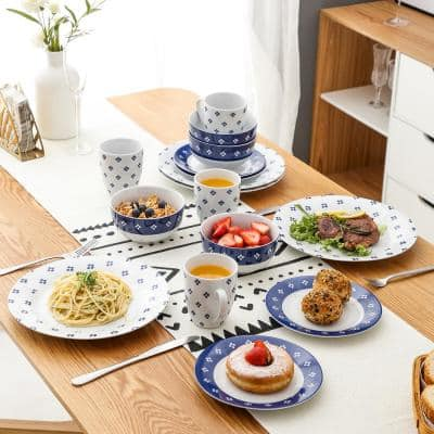 16- Piece Modern White with Blue Porcelain Dinnerware Sets (Service for Set for 4)