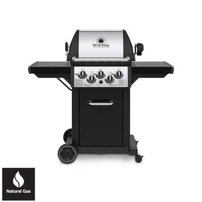 Monarch 390 3-Burner Natural Gas Grill in Black with Side Burner and Rear Rotisserie Burner
