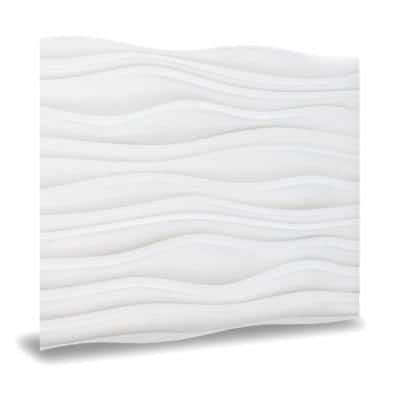 24 in. x 24 in. Dunes PVC Seamless 3D Wall Panels in White 12-Pieces
