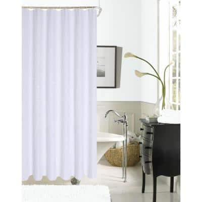 Exclusive Spa 251 Hotel Collection 72 in. White Waffle Shower Curtain