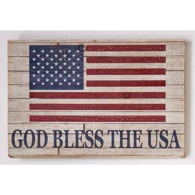 18 in. Distressed God Bless The USA Wood Sign