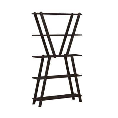Freemont 63.7 in. Dark Espresso Solid Wood 5 -Shelf Hourglass Bookcase