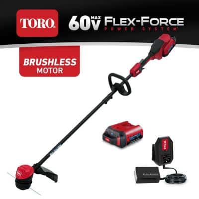 60-Volt Max Lithium-Ion Brushless Cordless 15 in. / 13 in. String Trimmer - 2.0 Ah Battery and Charger Included