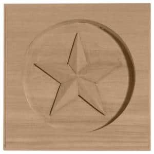 5 in. x 3/4 in. x 5 in. Unfinished Wood Maple Austin Star Rosette
