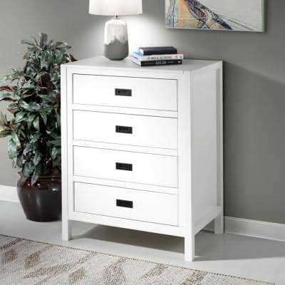 """40"""" Classic Solid Wood 4-Drawer Chest - White"""