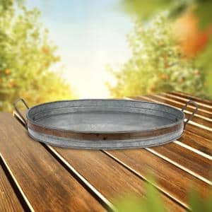 Aged Galvanized with Rust Metal Metal Trim Decorative Tray