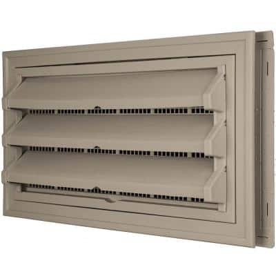 9-3/8 in. x 17-1/2 in. Foundation Vent Kit with Trim Ring and Optional Fixed Louvers (Galvanized Screen) in #097 Clay
