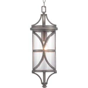 Morrison Collection 1-Light Antique Pewter Clear Glass Modern Outdoor Hanging Lantern Light
