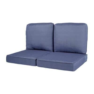 Spring Haven 23.5 in. x 26.5 in. 4-Piece Outdoor Loveseat Cushion Set in Standard Blue