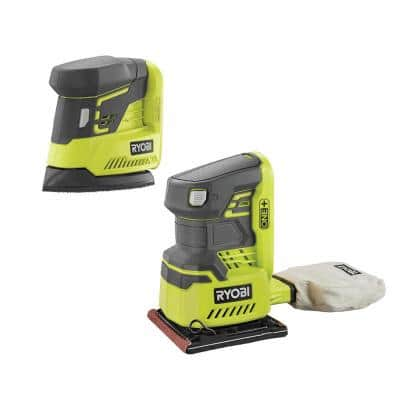 ONE+ 18V Lithium-Ion Cordless 1/4 Sheet Sander w/Dust Bag and Corner Cat Finish Sander (Tools Only)