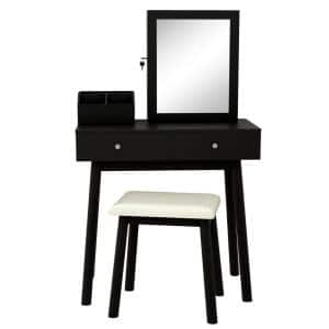 Black Jewelry Armoire Dressing Table with Mirror 51.18 in. x31.5 in. x15.55 in.