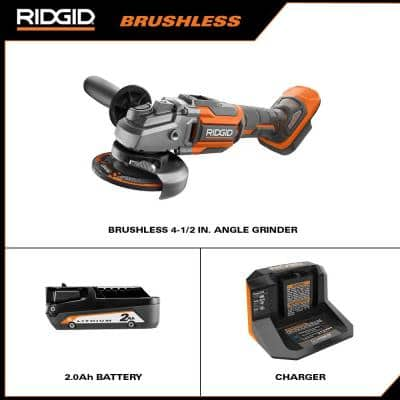 18V OCTANE Brushless Cordless 4-1/2 in. Angle Grinder Kit with 18V Lithium-Ion 2.0 Ah Battery and Charger
