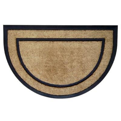 DirtBuster Single Picture Frame Black 24 in. x 36 in. Half Round Coir with Rubber Border Door Mat