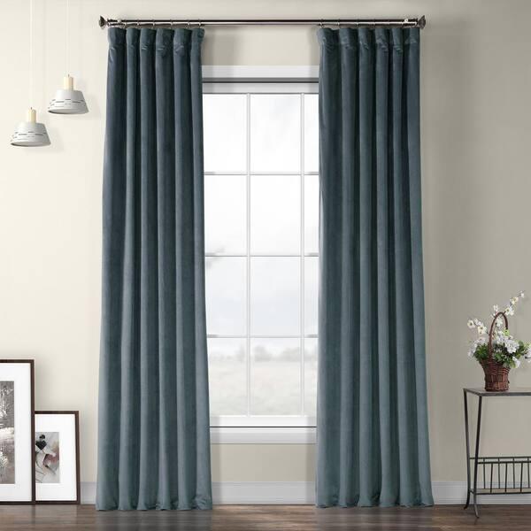 Exclusive Fabrics Furnishings Blue Velvet Rod Pocket Room Darkening Curtain 50 In W X 96 In L Vpyc 161258 96 The Home Depot